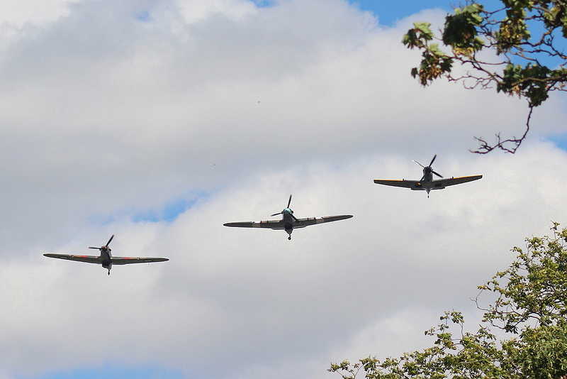 Two Hurricanes and a Spitfire