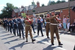 2016 Re-enactors parade on Station Road